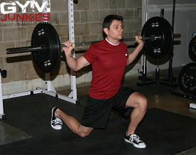 Demonstration of the Barbell Lunge exercise.
