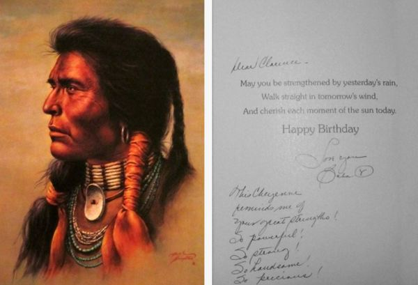 Birthday card given to Clarence Harrison by his wife's mother.  The front of the card shows the face of a young and handsome Cherokee man.