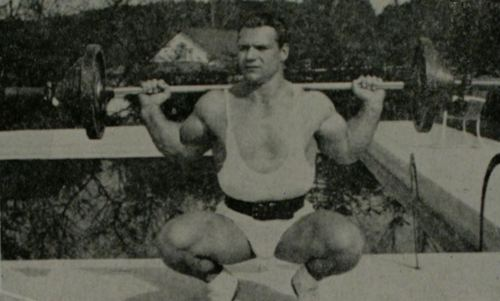 John Grimek performing the Deep Knee Bend exercise.