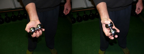 Peter yates demonstrating the use of tai chi balls for grip building