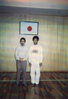 Sifu Share K. Lew posing with David Bricker in Japan, circa 1986.