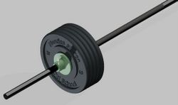 CAD drawing of a plate-loaded barbell