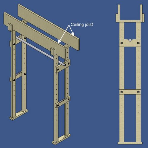 CAD drawing of the Basement Muscle Builder, a lightweight wooden power rack with chinning bar.