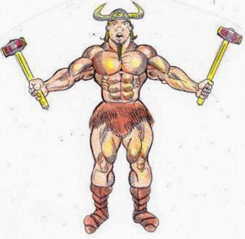 Cartoon drawing of the Norse Hammer Man, a very muscular Viking, holding a sledge hammer in each hand.