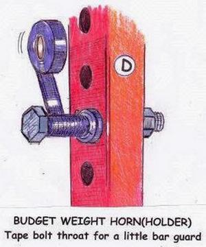 Illustration of taping and securing a bolt to a power rack to hold a barbell.