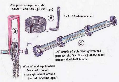 Illustration showing shaft collars being used on a winch-hoist application and secured on a length of schedule 40, 3/4-inch pipe.