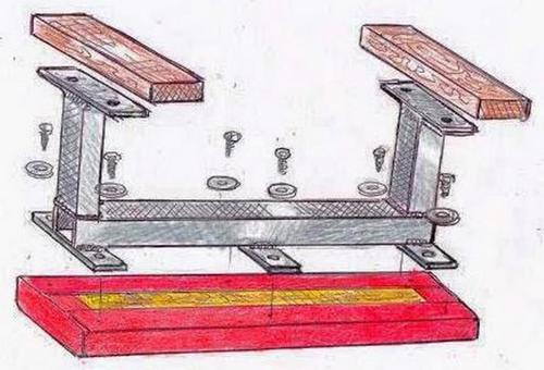 Illustration showing how a top is fastened to a referenced steel-frame weight bench
