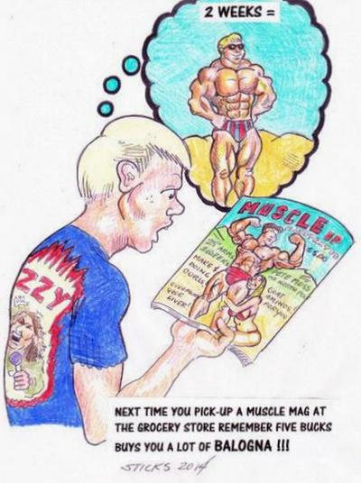 Cartoon drawing of a skinny young man holding a muscle magazine, gawking at its cover, and picturing himself looking like the portrayed champion within two weeks.