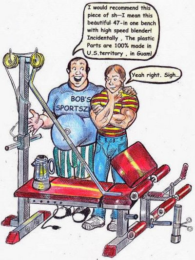 Cartoon drawing of a smiling salesperson showcasing a poorly made combination weight bench to a suspecting bodybuider.