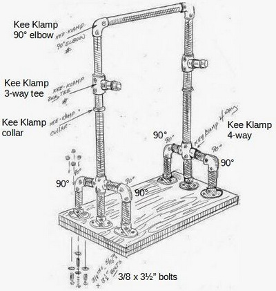 Illustration of a simple barbell rack made from pipe and fastened together with Kee Klamps