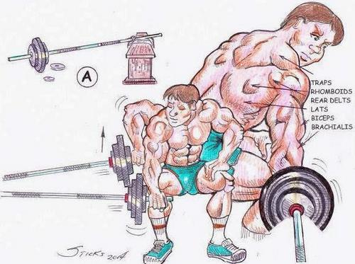 Illustrations of the 'end-of-the-bar' row exercise for building a stronger back