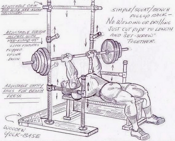 Illustration of bench and squat rack made from pipe and fastened together with Kee Klamps