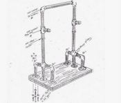 Drawing plan for building a simple weight-training power rack from pipe and held together with Kee Klamps.