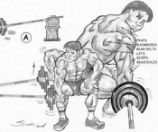 Illustration of how to perform the one-arm row exercise by using the end of a barbell