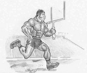 Drawing of a running muscle man