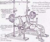 Drawing plan for building a squat and bench power rack from pipe and held together with Kee Klamps