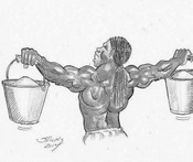 Illustration of the static hold exercise for building muscular shoulders