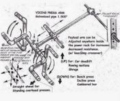 Drawing plan for building a power rack attachment that can be used for multiple weight-training exercises, including presses and rows