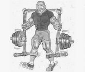 Drawing plan for building a yolk walk muscle-building apparatus made from pipe