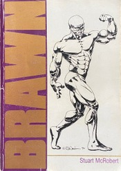 Cover of the book Brawn showing a drawing of a muscular bodybuilder posing.